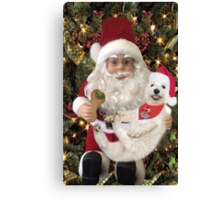 ♥ ˚ ˚✰˚LOOK AT ME ON SANTA'S KNEE I'M HAPPY HE'S GOT A BISCUIT FOR ME♥ ˚ ˚✰˚PICTURE-CARD Canvas Print