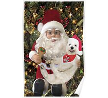 ♥ ˚ ˚✰˚LOOK AT ME ON SANTA'S KNEE I'M HAPPY HE'S GOT A BISCUIT FOR ME♥ ˚ ˚✰˚PICTURE-CARD Poster