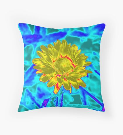 Blue/Yellow Flower (title pending) Throw Pillow