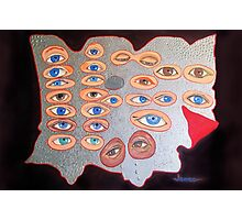 Eyes peering from behind the shield Photographic Print