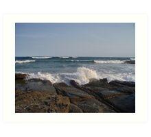 Wave Splash at Rocks Edge Art Print