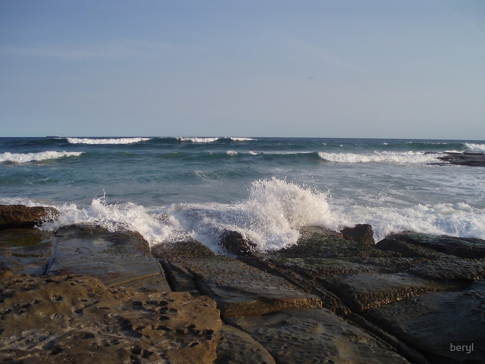 Wave Splash at Rocks Edge by Beryl Withnell
