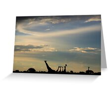 Giraffe Silhouette - Epic Sky and Freedom Greeting Card
