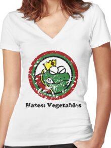 Hates: Vegetables (Battle Damage) Women's Fitted V-Neck T-Shirt