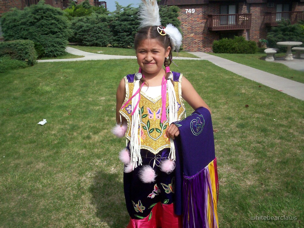 My daughter and her fancydance outfit in the summer by whitebearclaws