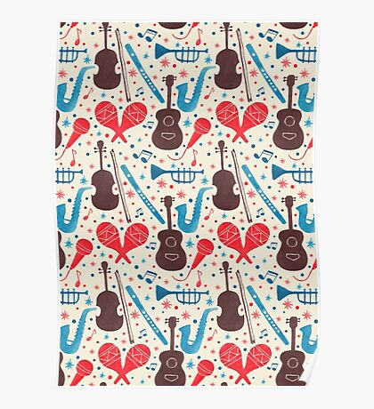 Music Instruments Pattern Poster