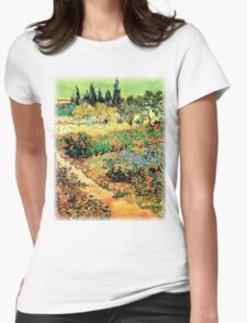 Flowering Garden with Path, Vincent van Gogh Womens Fitted T-Shirt