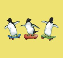 Happy Wheels - Penguins on Skate Boards Kids Clothes