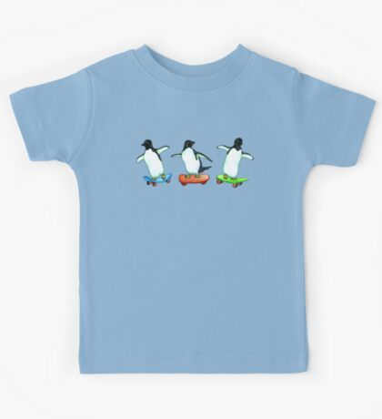Happy Wheels - Penguins on Skate Boards Kids Tee