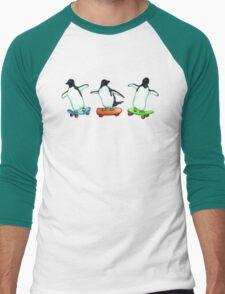 Happy Wheels - Penguins on Skate Boards Men's Baseball ¾ T-Shirt
