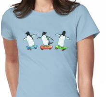 Happy Wheels - Penguins on Skate Boards Womens Fitted T-Shirt