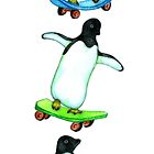 Happy Wheels - Penguins on Skate Boards by Perrin Le Feuvre