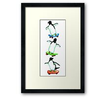 Happy Wheels - Penguins on Skate Boards Framed Print