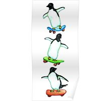 Happy Wheels - Penguins on Skate Boards Poster