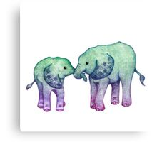 Baby Elephant Love Canvas Print