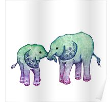 Baby Elephant Love Poster