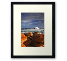 Stormy Sunset Crashing Wave Framed Print