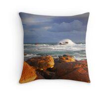 Stormy Sunset Crashing Wave Throw Pillow