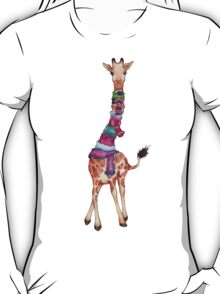 Cold Outside - Cute Giraffe Illustration T-Shirt