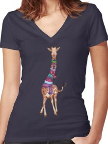 Cold Outside - Cute Giraffe Illustration Women's Fitted V-Neck T-Shirt