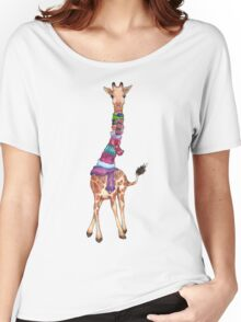 Cold Outside - Cute Giraffe Illustration Women's Relaxed Fit T-Shirt