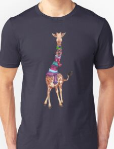 Cold Outside - Cute Giraffe Illustration Unisex T-Shirt