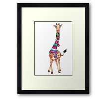 Cold Outside - Cute Giraffe Illustration Framed Print