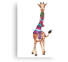 Cold Outside - Cute Giraffe Illustration Canvas Print