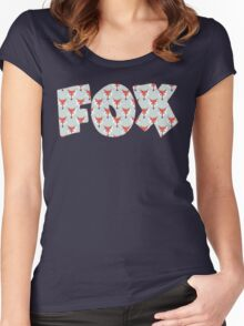 Fox Pattern on Sage  Women's Fitted Scoop T-Shirt