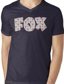 Fox Pattern on Sage  Mens V-Neck T-Shirt