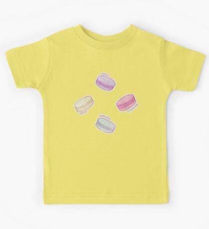 French Macaron Pattern - raspberry, pistachio, lemon & blueberry Kids Tee
