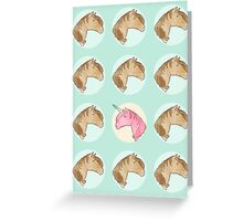 Be Yourself - Unicorn Pattern on Mint Greeting Card