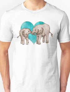 Baby Elephant Love - sepia on teal watercolour T-Shirt