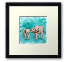 Baby Elephant Love - sepia on teal watercolour Framed Print