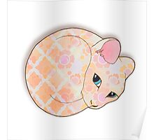 Introvert Kitten - patterned cat illustration Poster