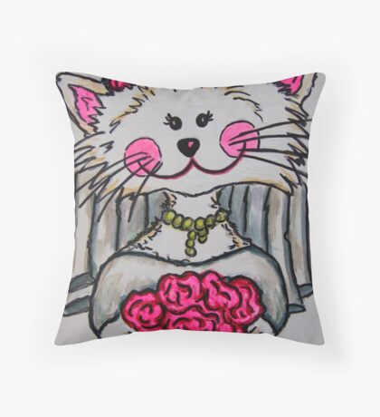 Bride To Be Kitty Throw Pillow
