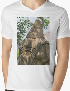 wooden statue in the park Mens V-Neck T-Shirt