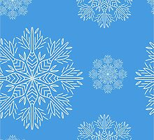 Christmas seamless pattern with snowflakes on blue background by Ann-Julia