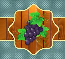Grapes on a wooden background by AnnArtshock