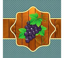 Grapes on a wooden background Photographic Print