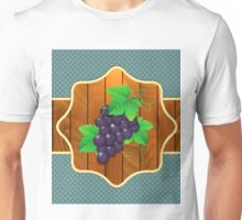 Grapes on a wooden background Unisex T-Shirt
