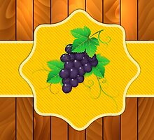 Grapes on a wooden background 3 by AnnArtshock