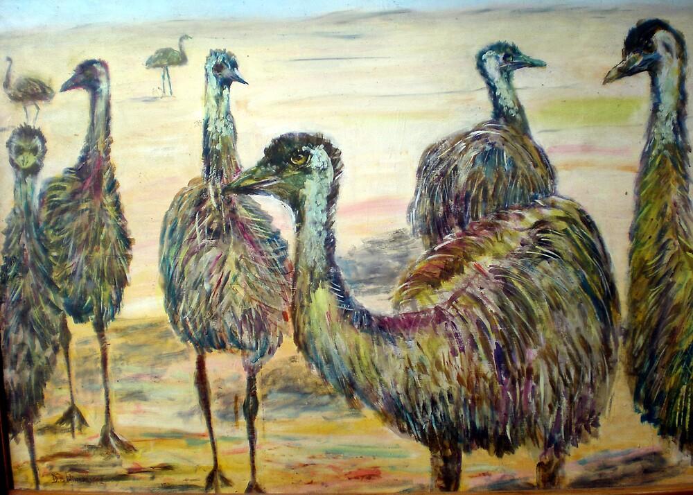 Emus by David Hinchliffe