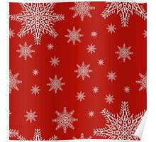 Seamless pattern with snowflakes on red background. drawing hands Poster