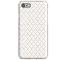 White and Tan Quatrefoil Pattern iPhone Case/Skin
