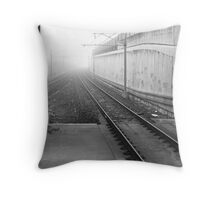 foggy track to Bayswater Throw Pillow