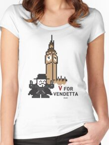 V (8 bit) Women's Fitted Scoop T-Shirt