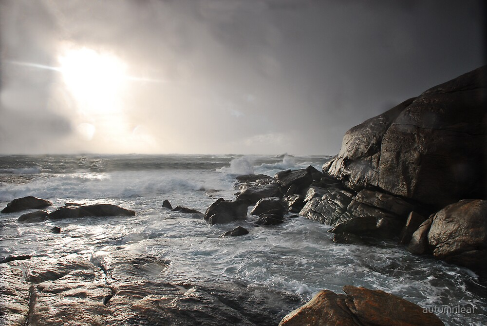 Stormy sunset and coast by autumnleaf