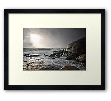 Stormy sunset and coast Framed Print