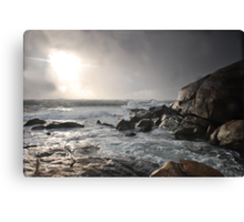 Stormy sunset and coast Canvas Print
